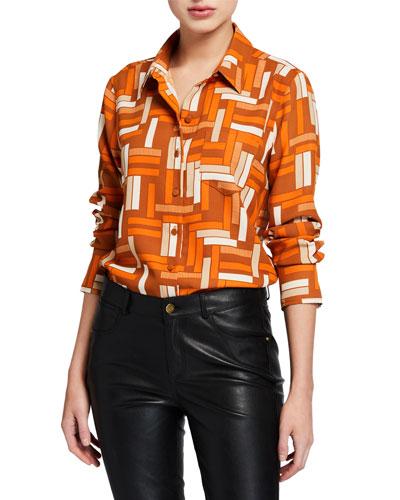 Fanette Geometric Button-Down Shirt