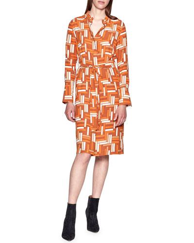 Roseabelle Geometric Long-Sleeve Shirtdress