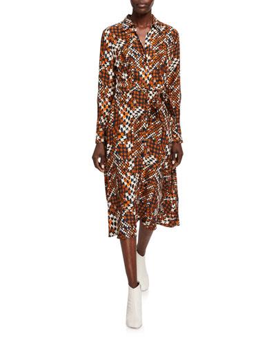 Relle Printed Long-Sleeve Midi Shirtdress