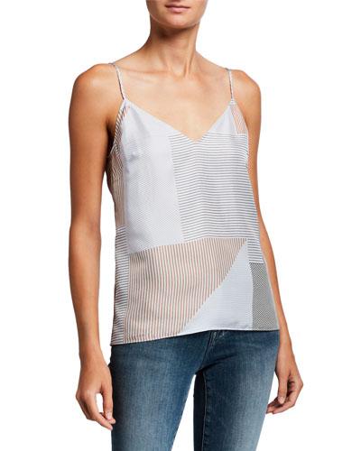 Striped V-Neck Silk Cami