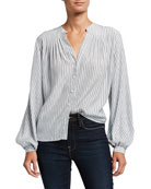 FRAME Striped Button-Down Pleated Silk Blouse