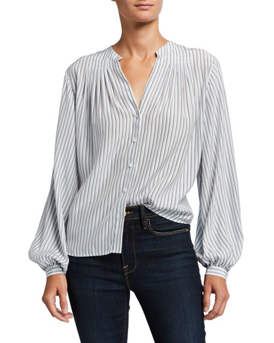 Striped Button-Down Pleated Silk Blouse