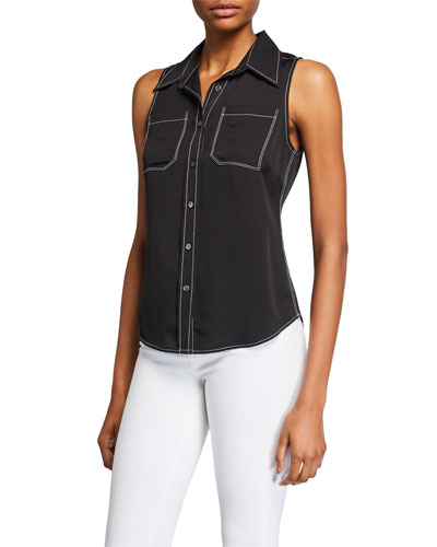 70s Sleeveless Collared Contrast Stitch Top