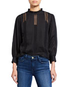 FRAME Lace Ruffle-Neck Long-Sleeve Top