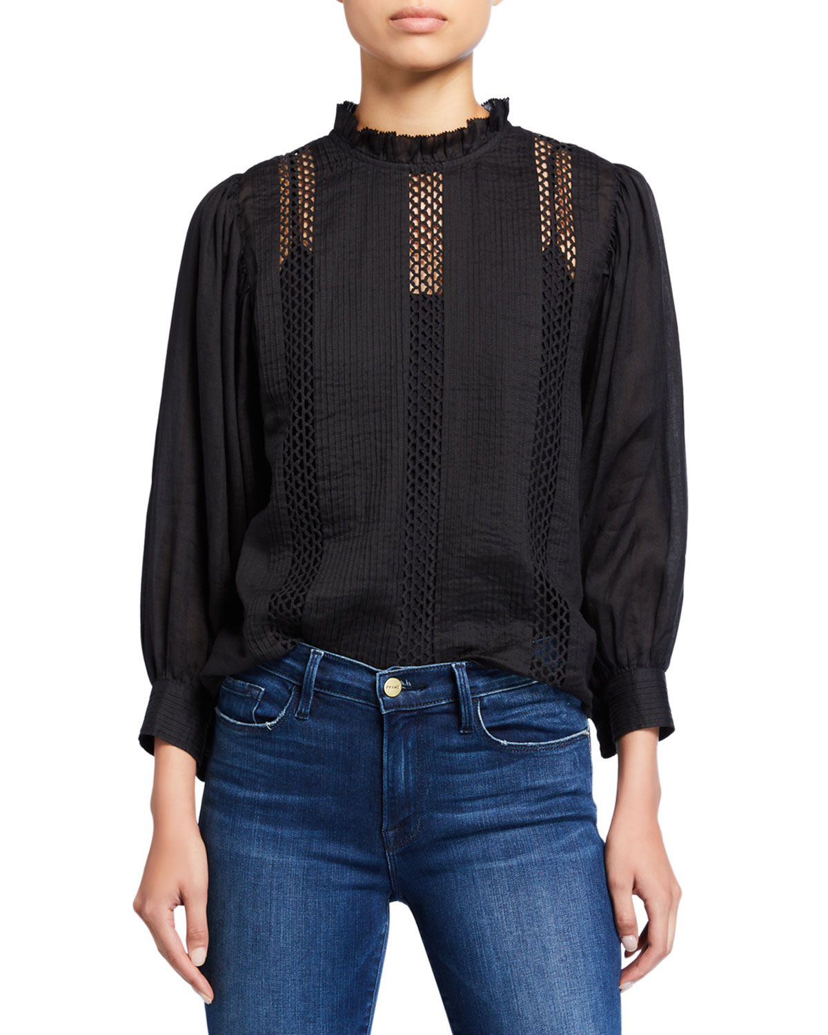 Frame Tops LACE RUFFLE-NECK LONG-SLEEVE TOP