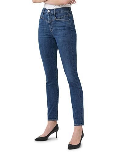 Jesse Straight-Leg Ankle Jeans with Yoke