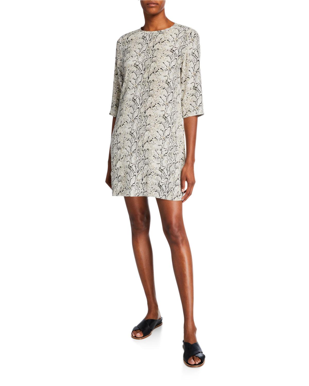 Aubrey Python Half-Sleeve Mini Silk Dress