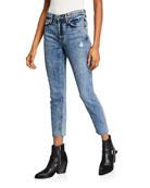GRLFRND Karolina High-Rise Cropped Distressed Skinny Jeans -