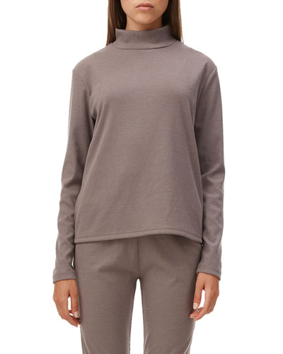 Lyla Ribbed Long-Sleeve Turtleneck Top