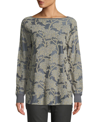 Phoenix Boat-Neck Long-Sleeve Floral Metallic Mesh Top