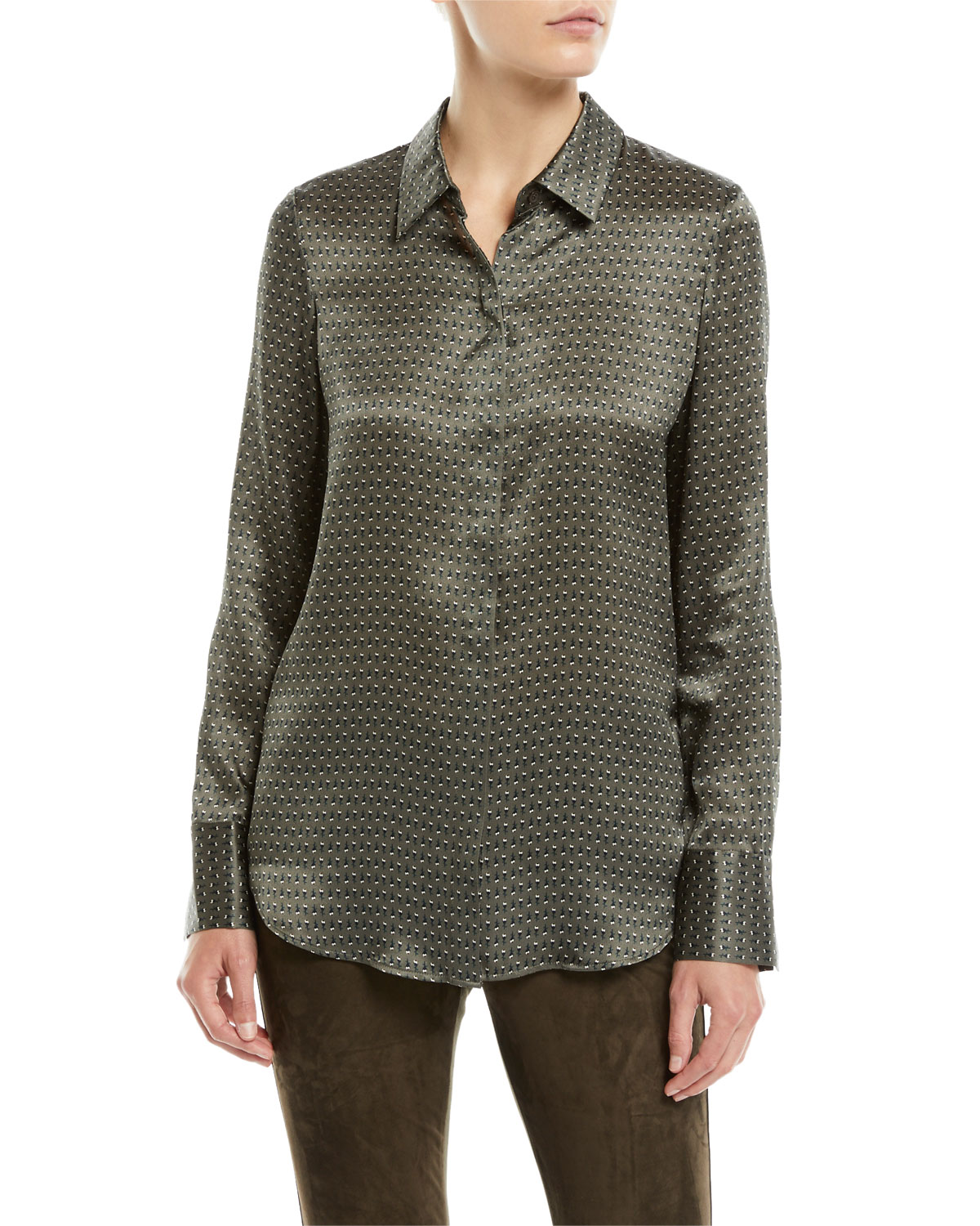 Lafayette 148 Tops SCOTTIE BOUNDLESS-BUDS LONG-SLEEVE SILK BLOUSE