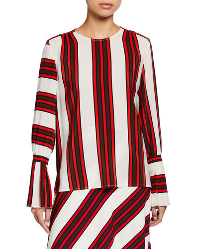 Striped Flare-Sleeve Silk Blouse