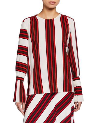 Striped Flare-Sleeve Silk Blouse