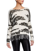 Lisa Todd Chalet Animal Print Sweater w/ Fringe