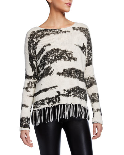 Chalet Animal Print Sweater w/ Fringe Trim