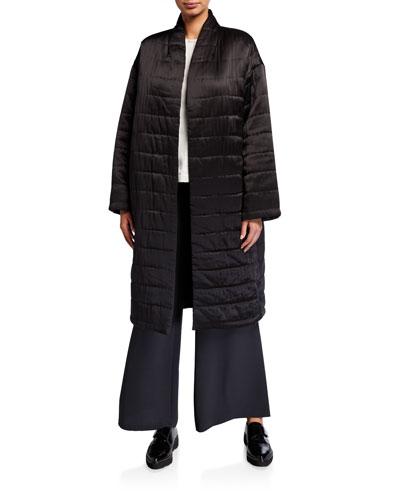 Quilted Silk Charmeuse Kimono Coat