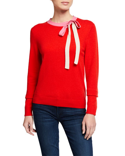 Wool-Cashmere Tie-Neck Sweater
