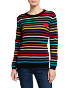 Chinti And Parker Striped Cashmere Heart-Intarsia Sweater