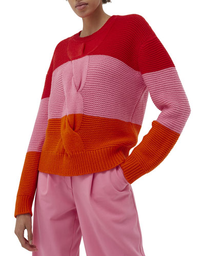Giant Cable Colorblock Sweater