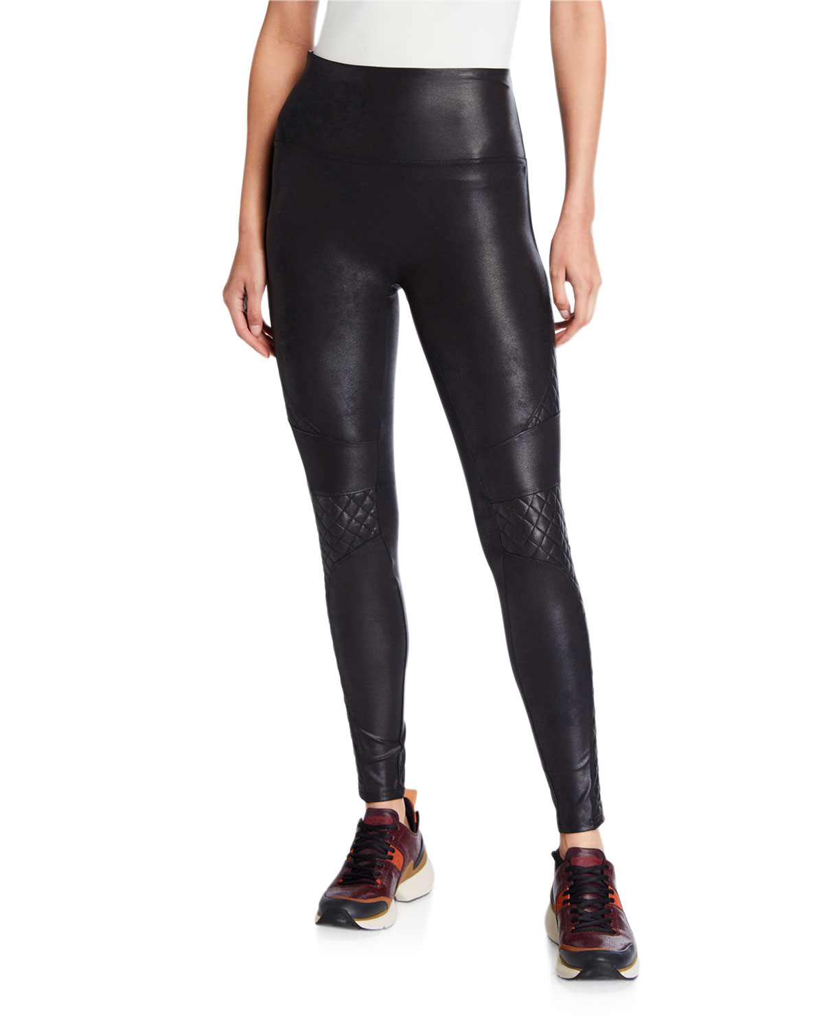 Spanx Pants Quilted Faux-Leather Leggings