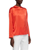 Eileen Fisher Silk Charmeuse Long-Sleeve Box Top