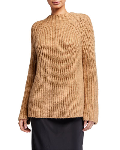Funnel-Neck Wool/Cashmere Sweater