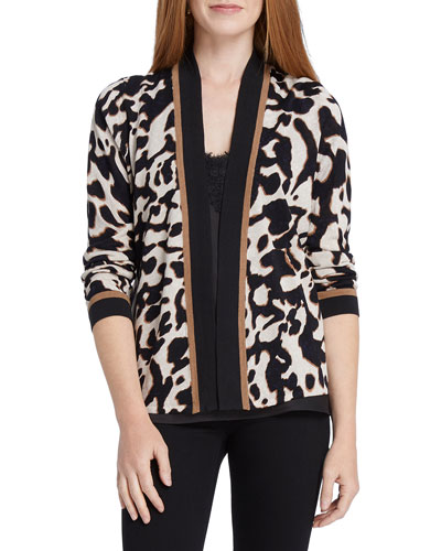 Petite Leader Of The Pack Animal-Print Cardigan