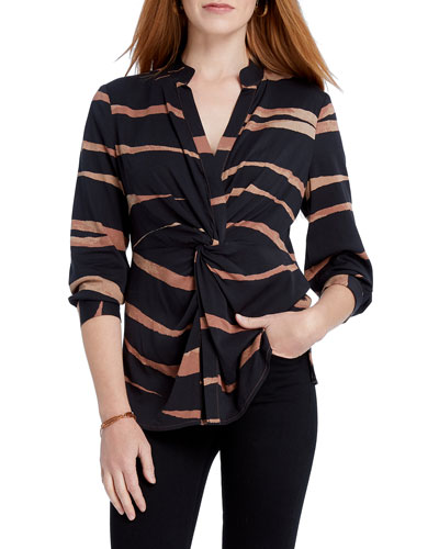 Petite Abstract Animal Print Twist-Front Top