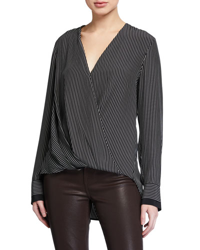 Victor Striped Silk Wrap Blouse