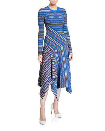 Rib-Knit Printed Asymmetrical Midi Dress