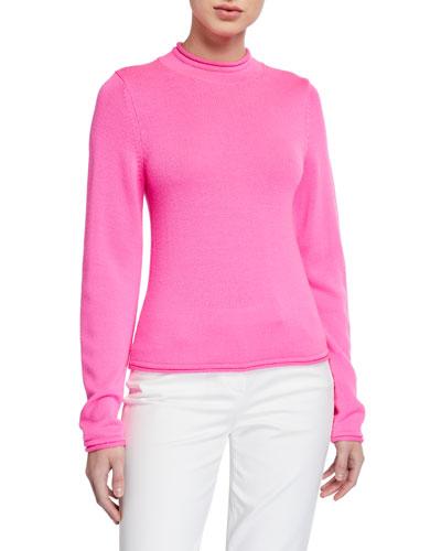 Long-Sleeve Fluorescent Knit Wool Sweater