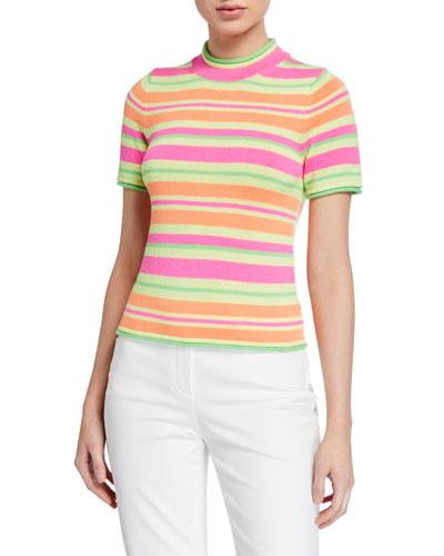 Short-Sleeve Fluorescent Knit Striped Sweater