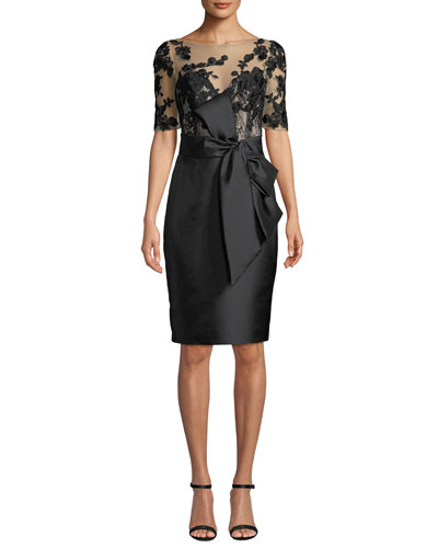 Bateau-Neck Elbow-Sleeve Embroidered Tulle Illusion Dress w/ Bow Detail