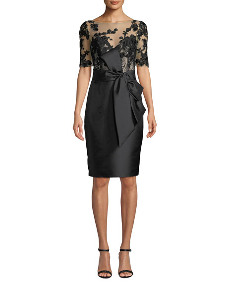 Badgley Mischka Collection Bateau-Neck Elbow-Sleeve Embroidered Tulle Illusion Dress w/ Bow Detail