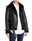 LaMarque Zoe Leather Jacket with Faux Fur Trim
