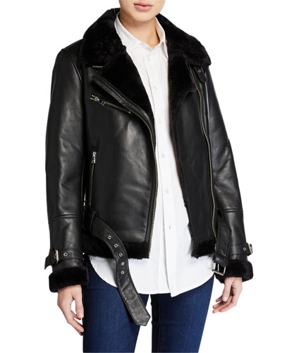 Zoe Leather Jacket with Faux Fur Trim