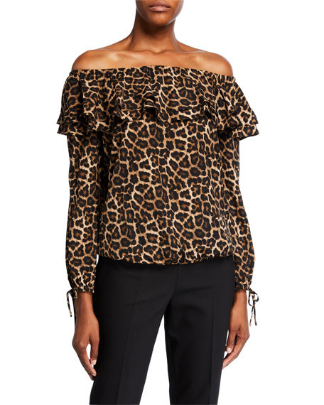 MICHAEL Michael Kors Leopard Off-the-Shoulder Ruffle Peasant Top