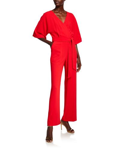 High Valley V-Neck 1/2-Sleeve Belted Jumpsuit