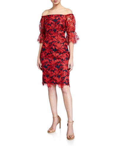Semillon Floral Off-the-Shoulder Sheath Dress