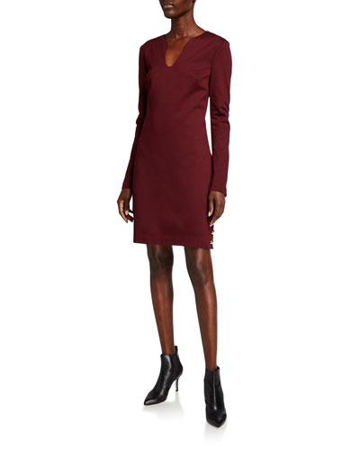 Shiraz V-Neck Long-Sleeve Ponte Dress w/ Button Accents