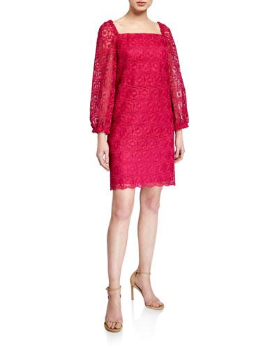 Bottle Square-Neck Long-Sleeve Lace Dress