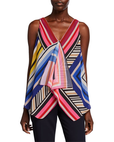 Pinot Gris Striped V-Neck Sleeveless Top