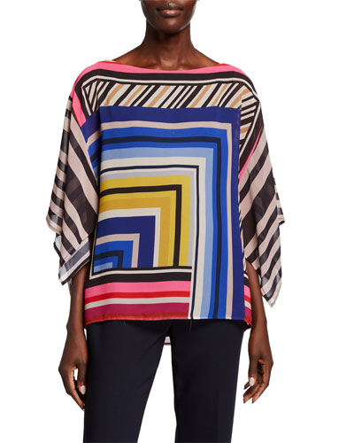 Mouvedre Striped Boat-Neck Draped-Sleeve Top