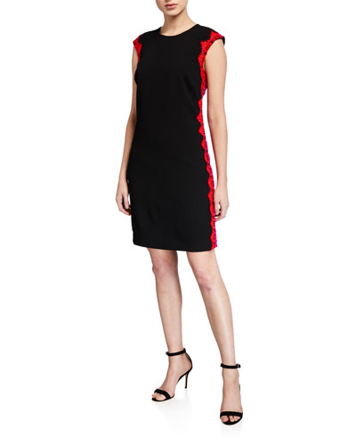 Whim Cap-Sleeve Lace-Trim Sheath Dress