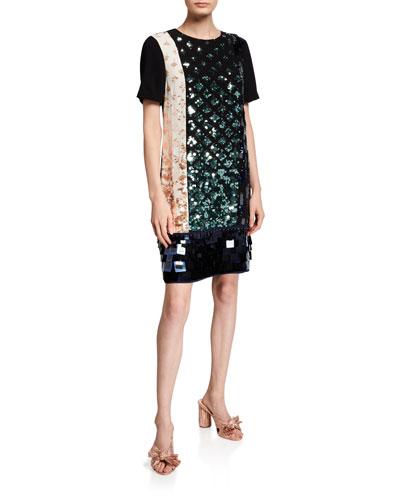 Colorblock Sequin T-Shirt Dress