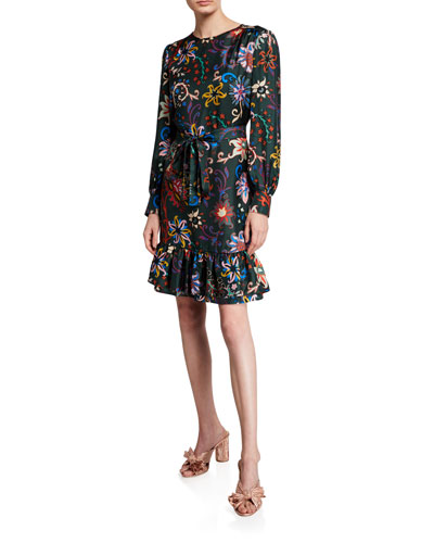 Floral Long-Sleeve Silk Twill Shift Dress