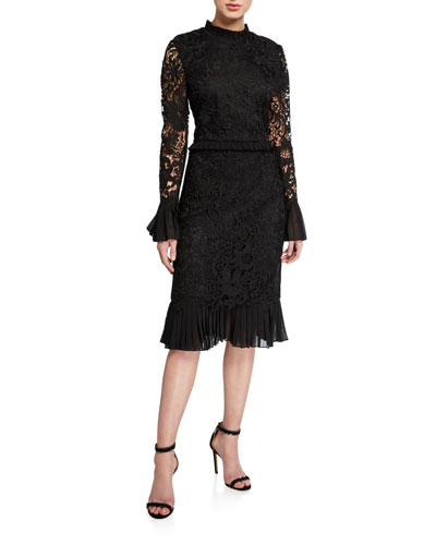 Floral Guipure Lace Mock-Neck Long-Sleeve Pencil Dress w/ Ruffle Trim