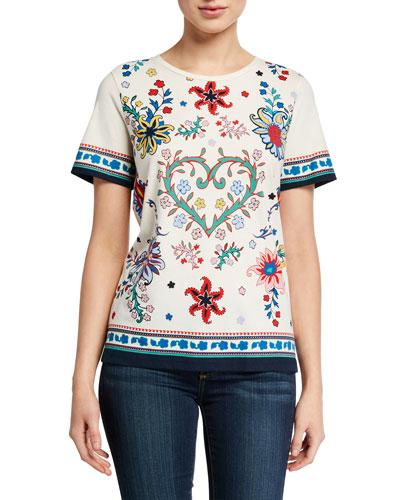 Heart Floral Short-Sleeve Cotton T-Shirt
