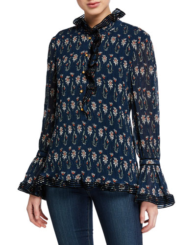 Deneuve Floral-Printed Plisse Top with Ruffle Collar & Cuffs