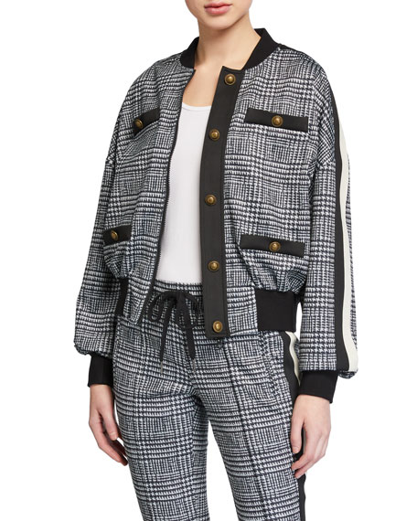 Pam & Gela Glen Blouson-Sleeve Track Jacket with Buttons